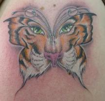 Tiger face in butterfly tattoo.JPG