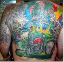 Colorful full back tattoo with motor bike.JPG