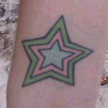 Colorful star tattoo