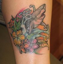 Hawaiian shark tattoo with full of tropical flowers in full of colors.PNG