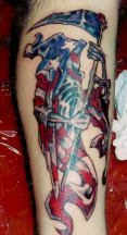 American death skull tattoo in American flag picture.PNG