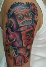 Colorful robot tattoo on the sleeve.PNG