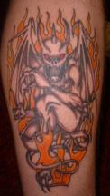 gargoyle tattoo on fire