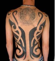 Tribal tattoo on the back with tiger head.jpg